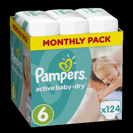 Pampers Active Baby Dry Μέγεθος 6 (15+kg), 124 Πάνες