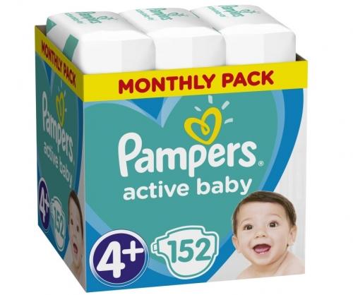 Pampers Active Baby Πάνες Μέγεθος 4+ (10-15 kg), 152 Πάνες