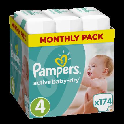 Pampers Active Baby Dry Μέγεθος 4 (8-16kg), 174 Πάνες