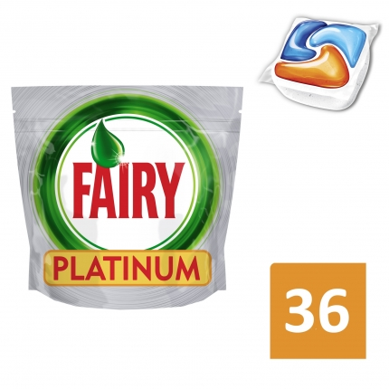 Fairy Platinum Orange Ταμπλέτες Πλυντηρίου Πιάτων 36 ανά συσκευασία