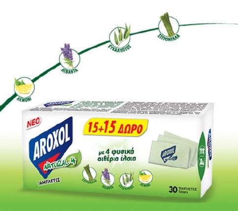 AROXOL MAT NATURAL FOUR 15+15 ΤΑΜΠΛΕΤΕΣ ΔΩΡΟ