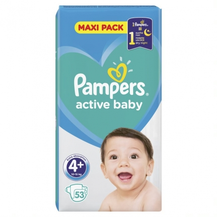 PAMPERS ACTIVE BABY MAXI ΜΕΓ4+ (10-15 kg), 53 ΠΑΝΕΣ