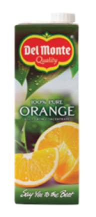 DEL MONTE JUICE 100% ORANGE 6X1LT