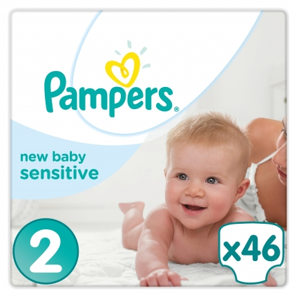 Pampers New Baby Sensitive ΜΕΓ 2  (3-6kg), 46 ΠΑΝΕΣ