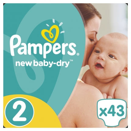 Pampers New Baby-Dry Μέγεθος 2 (3-6kg), 43 Πάνες