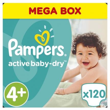 Pampers Active Baby Dry Μέγεθος 4+ (9-16kg), 120 Πάνες