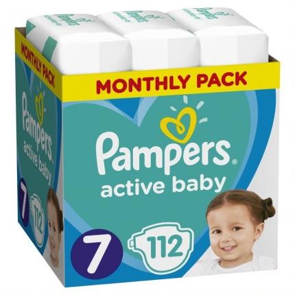 Pampers Active Baby Πάνες Μέγεθος 7 (15+ kg), 112 Πάνες