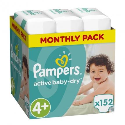 Pampers Active Baby Dry Μέγεθος 4+ (9-16kg), 152 Πάνες