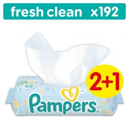 Μωρομάντηλα Pampers Baby Wipes Fresh Clean Οικονομική Συσκευασία 64 τεμ. (2+1 συσκ. Δώρο)