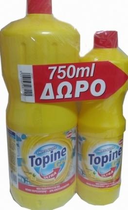 TOPINE GEL ΧΛΩΡΙΟ ΛΕΜΟΝΙ 2LT + 750ML ΔΩΡΟ