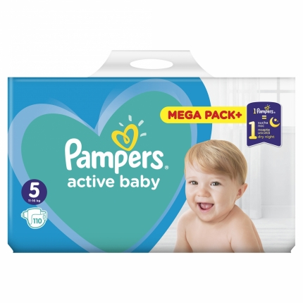 PAMPERS ACTIVE BABY MEGA PACK  ΜΕΓ 5  (11-16 kg), 110 ΠΑΝΕΣ