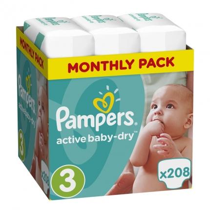 Pampers Active Baby-Dry Μέγεθος 3 (5-9kg), 208 Πάνες