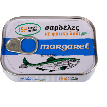 MARGARET ΣΑΡΔΕΛΕΣ ΣΕ ΛΑΔΙ 100x115gr