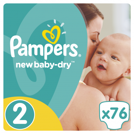 Pampers New Baby Dry Μέγεθος 2 (3-6kg), 76 Πάνες