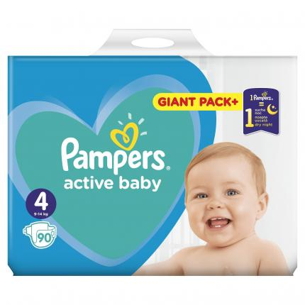 PAMPERS ACTIVE BABY GIANT  ΜΕΓ 4  (9-14 kg),90ΠΑΝΕΣ