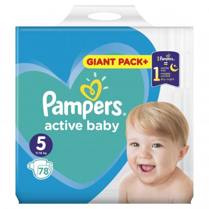 PAMPERS ACTIVE BABY GIANT ΜΕΓ 5 (11-16 kg), 78 ΠΑΝΕΣ