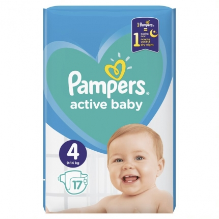 PAMPERS ACTIVE BABY ΜΕΓ 4 (9-14 kg), 17 ΠΑΝΕΣ