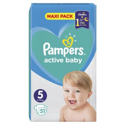 PAMPERS ACTIVE BABY ΜΑΧΙ ΜΕΓ 5 (11-16 kg), 51 ΠΑΝΕΣ