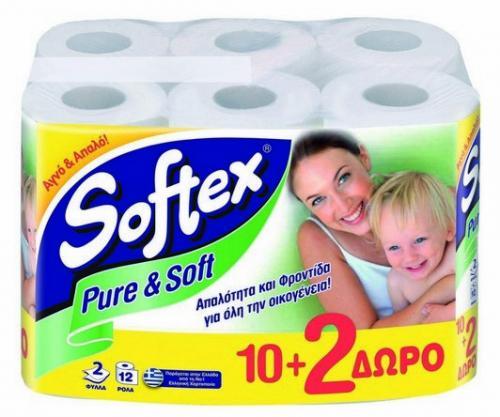 Softex Ρολά Υγείας Pure & Soft 10+2 ρολά Δώρο