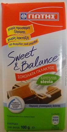 SWEET & BALANCE ΣΟΚΟΛΑΤΑ ΓΑΛΑΚΤΟΣ STEVIA 100gr